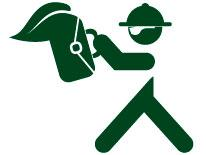 Icon of business man in hard hat and briefcase reviewing blueprint